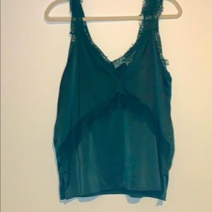 Kelly green lace and silky top medium